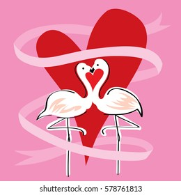 Flamingo Kissing With Heart Shape Background And Ribbon Flowing