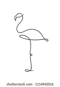 Flamingo line drawing logo, icon, label. Decorative element. in trendy outline style.