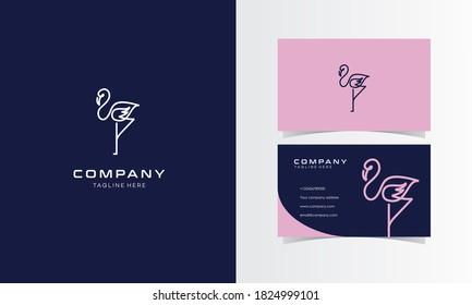 Flamingo Line Minimalist Logo with Business Card Design