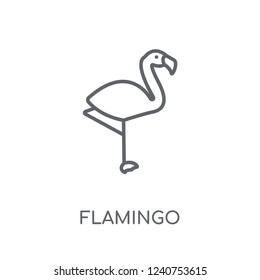 Flamingo linear icon. Modern outline Flamingo logo concept on white background from animals collection. Suitable for use on web apps, mobile apps and print media.
