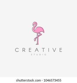 Flamingo logo.  Linear logo, in the form of a flamingo.