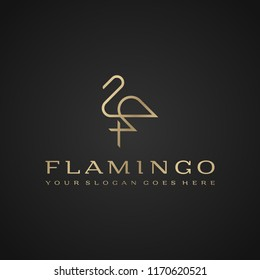 Flamingo logo. Luxury simple design. Vector line drawing template