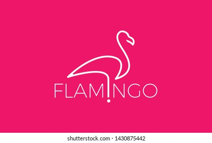 Flamingo Logo With Simple Lines in Pink Color