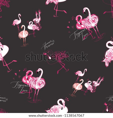 c4a94342d29d Flamingo love pink black pattern. Tropical birds on dark background. Black  hand drawn graphic