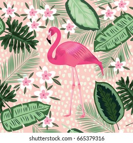 Flamingo and palm trees seamless pattern. illustration for design kitchen menu, textiles and market.