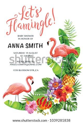 Flamingo Party Invitation Tropical Hawaiian Poster Stock Vector