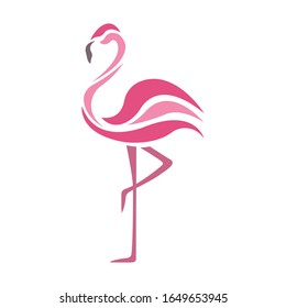 Flamingo pink bird silhouette drawn on a white isolated background. Tattoo, creative logo for the company, travel agency, emblem for fashion design, dishes, album, paper, postcards, books. Vector