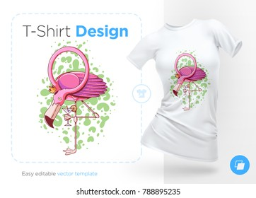 Flamingo. Prints on T-shirts, sweatshirts, cases for mobile phones, souvenirs. Isolated vector illustration on white background.