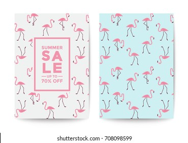 Flamingo sale poster and flyer design