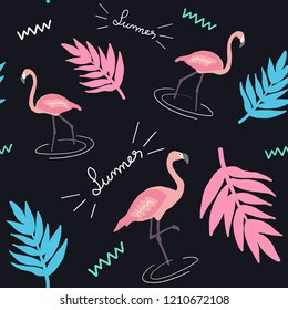 Flamingo Seamless pattern. Exotic fashion trend and textile design. Repeated vector illustration.