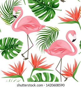 Flamingo seamless pattern. Summer tropical background with bird of paradise flower, monstera and palm leaves.