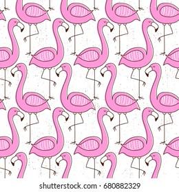Flamingo seamless pattern, vintage exotic vector design