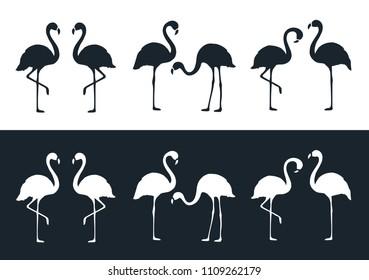 Flamingo Set. Black and White.