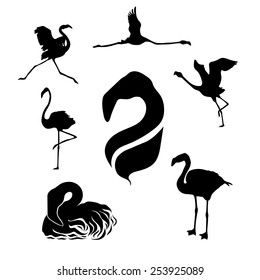 Flamingo set of silhouettes vector