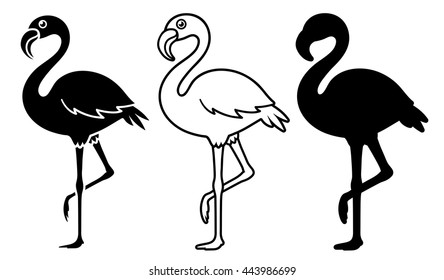 Flamingo silhouettes set isolated on white - vector illustration