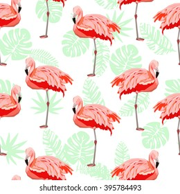 flamingo sketch vector illustration seamless. tropical theme, the idea of textiles, fashion trend, flamingo pattern on a white background.