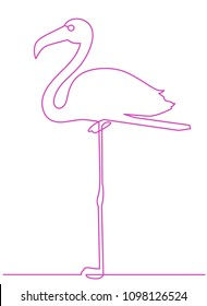 Flamingo staying on one leg continuous line drawing element isolated on white background. Vector illustration of bird form in trendy outline style.