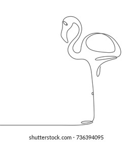 Flamingo staying on one leg continuous line drawing element isolated on white background can be used for logo or decorative element. Vector illustration of bird form in trendy outline style.
