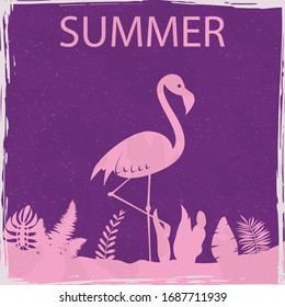 Flamingo summer tropical exotic bird floral vintage poster. Textured grunge effect retro card with text Summer. Vector illustration silhouette