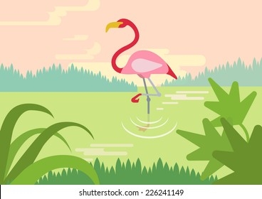 Flamingo in swamp river lake habitat flat design cartoon vector wild animals birds. Flat zoo nature children collection.