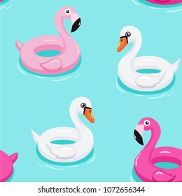 Flamingo and swan inflatable pool floats pattern. Vector seamless texture.