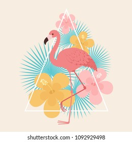 Flamingo with tropical flowers and leaves. Vector art
