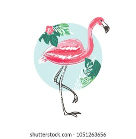 Flamingo with Tropical Flowers, Summer Poster, Graphic Background, Exotic Floral Invitation, Flyer or Card, Modern Front Page in Vector, Colorful Banner