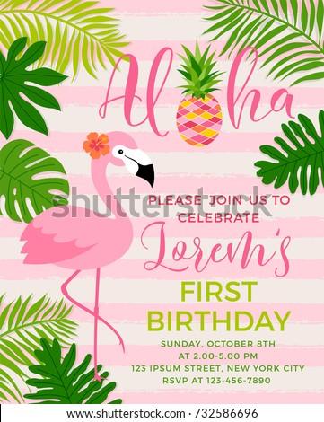 flamingo tropical leaf illustration party invitation のベクター画像