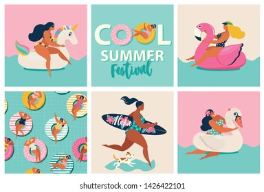 Flamingo, unicorn and swan inflatable swimming pool floats. Cartoon set of summer time with girls, pool floats, dog, an surfboard isolated on waves background.