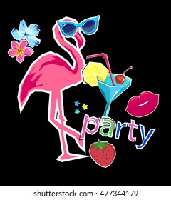 flamingo vector illustration, party logo vector illustration. patches badge design, red lips, cocktai