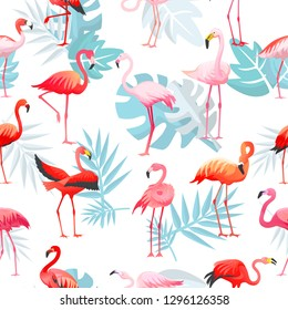 Flamingo vector tropical pink flamingos and exotic bird with palm leaves illustration set of fashion birdie isolated on white background
