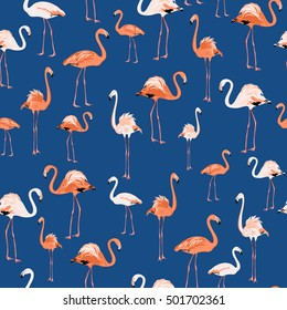 Flamingo wading birds seamless pattern. Exotic african species. Pink and white isolated on dark indigo blue background. Can be used for fabric, textile or decoration.