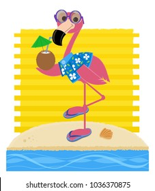 Flamingo wearing sunglasses, Hawaiian shirt and flipflops is holding a coconut drink and standing on a sandy beach. Eps10