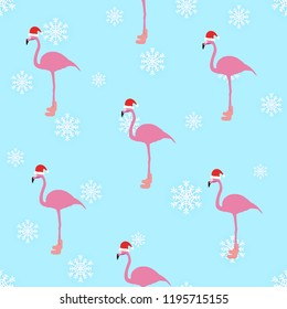 Flamingo winter style seamless pattern, with Santa Claus hap, striped socks, snowflakes. In the background light blue color. Vector eps 10.
