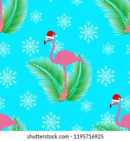 Flamingo winter style seamless pattern, with Santa Claus hap, striped socks, snowflakes and tropical palm leafs. In the background turquoise color. Vector eps 10.