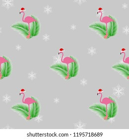 Flamingo winter style seamless pattern, with Santa Claus hap, striped socks, snowflakes and tropical palm leafs. In the background gray color. Vector eps 10.