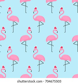 Flamingo in xmas hat seamless pattern. Exotic New Year art background. Design for fabric, wallpaper, textile and decor.