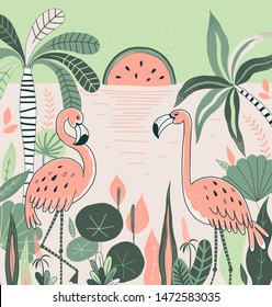 Flamingos hand drawn vector illustration. Wading bird design element. Tropical plants and trees. Watermelon and palm background. Vacation card, tourist poster, t shirt print