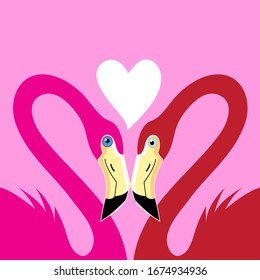 Flamingos in love with a heart on a blue background
