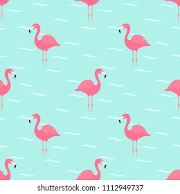 Flamingos in water. Seamless vector pattern