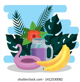flamish float with banans fruits and tropical flowers and leaves