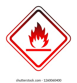 flammable attention vector sign sticker isolated