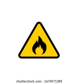Flammable Fire Burn Symbol Yellow Warning Vector Sign Isolated White Background