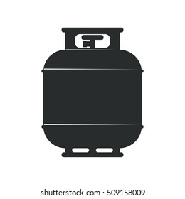 Flammable gas tank icon. Silhouette of Propane, butane, methane monochrome vector illustration
