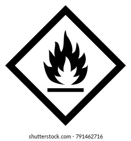 Flammable hazardous warning sign. Official warning sign. Global healthy sign of flammable