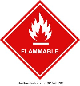 flammable icon red sign label