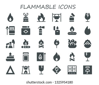 flammable icon set. 30 filled flammable icons.  Collection Of - Fire, Camping gas, Bonfire, Lighter, Fragile, Matches, Match, Extinguisher, Pump jack, Forest fire, Burner