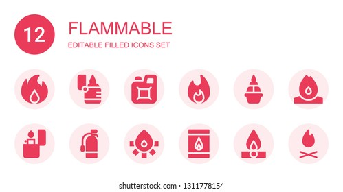 flammable icon set. Collection of 12 filled flammable icons included Fire, Lighter, Jerrycan, Bonfire, Flame, Extinguisher, Matches