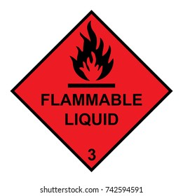 Flammable Liquid Diamond With Flames Symbol