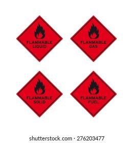 Flammable liquid gas solid fuel sign vector set